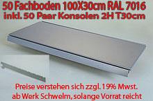 Tegometall 50 Stück Fachboden 100/30cm RAL 7016