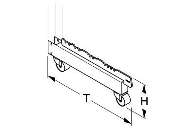 Fußteil H170 T470 für Halbgondelständer fahrbar