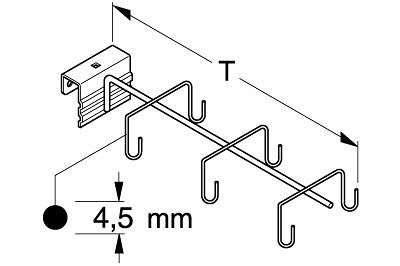 Halter für Geräte ohne Stiel L30 cm mit 6 Haken