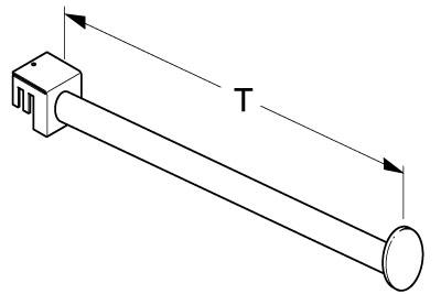 Tegometall Aufsteckhalter T630mm schwer, gerade, verchromt