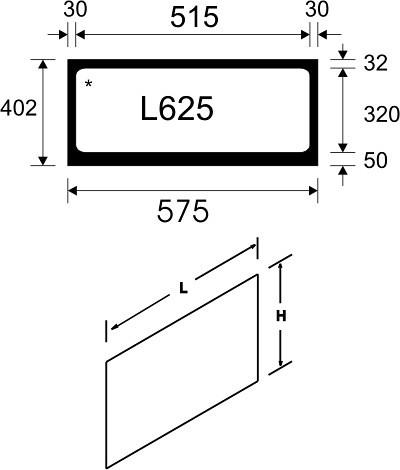 Tegometall Acrylglaseinsatz L 625 weiß für Leuchtkasten schräg