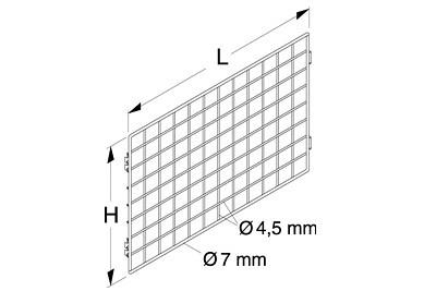 Tegometall Gitterrückwand zwischen Säulen L1000 H800