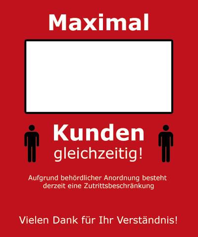 Tegometall Aufkleber rot Maximal ___ Kunden gleichzeitig
