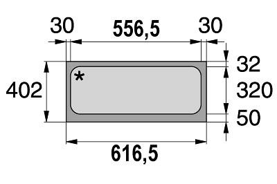 Tegometall Acrylglaseinsatz L 665 weiß für Leuchtkasten schräg