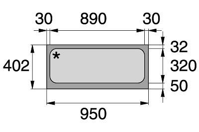 Tegometall Acrylglaseinsatz L 1000 weiß  für Leuchtkasten schräg