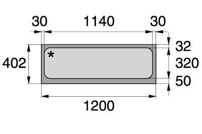 Tegometall Acrylglaseinsatz L 1250 weiß  für Leuchtkasten schräg