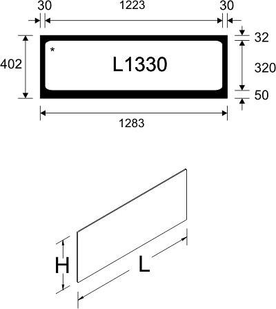 Tegometall Acrylglaseinsatz L 1330 weiß  für Leuchtkasten schräg