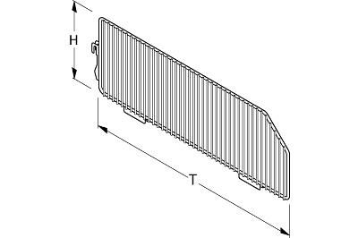 Tegometall Abteilgitter für Gitterboden PBE und PKE T570mm RAL 9006