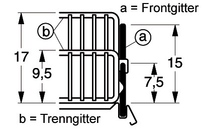 Frontgitter L 625 H 170