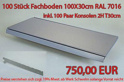 Tegometall 100 Stück Fachboden 100/30cm RAL 7016