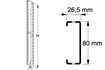 Tegometall Anschraubprofil 80 X 26,5 H 2150 mm