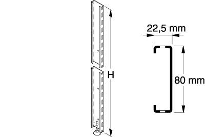 Tegometall Anschraubprofil 80 X 22,5 H 2000 mm