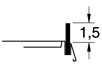 Tegometall Frontleiste nieder L 1250 H 35